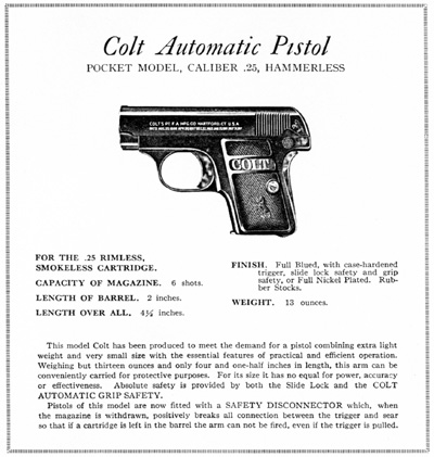 1920's Colt catalog description of the Model N