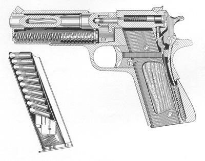 Colt .22-.45 Service Model Conversion Unit Sectional View