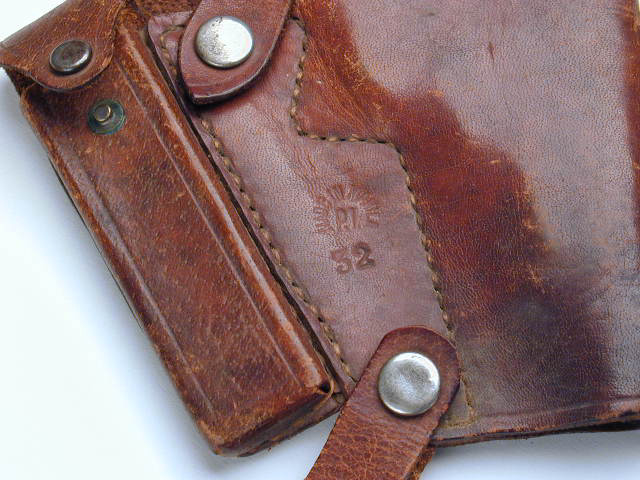 "Close-up of markings - shoulder holster for Colt Model M Marked ""Manila. P.I."""