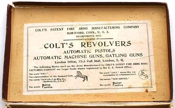 nside box label references Automatic Pistols, Automatic Machine Guns and Gatling Guns as well as the London Office at 15-A Pall Mall, London S.W.