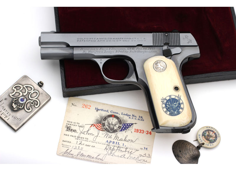 Colt 1903 Pocket Hammerless .32 ACP Presentation with Factory Inscription and Factory Inscribed Ivory stocks.